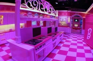 Gallo created a life-size Barbie kitchen.