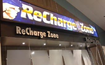 Mobile device charging station at McCarran International Airport