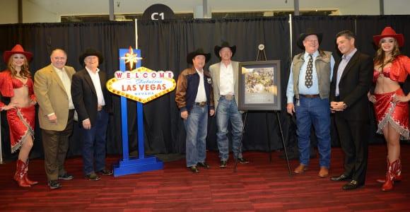 LVCVA Chairman Tom Collins unveils plaque commemorating its partnership with PRCA.