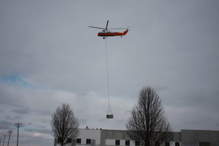 HVAC units airlifted to rooftop in Jan. 2014.