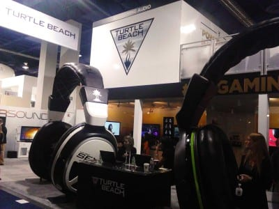 Two over-sized headsets at the Turtle Beach booth.