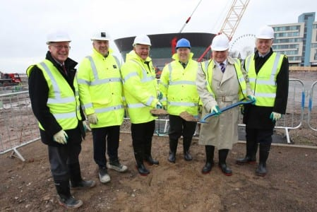 L-R: Gerald Andrews, director of finance, ACC Liverpool; Alan McCarthy-Wyper, managing director, ISG; Bob Prattey, chief executive, ACC Liverpool; Mayor Joe Anderson; David McDonnell, chairman, ACC Liverpool; and Jim Gill, chairman, The Chrysalis Fund.
