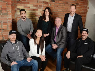 From left to right: Paul Eizerman, senior designer; Sean Karoonian, brand & digital director; Jennifer Chia, vice president of business development; Julia Lueck, director of account management; Mike Heffernan, vice president of operations; Dale Morgan, CEO; Tony Pereira, shop foreman.
