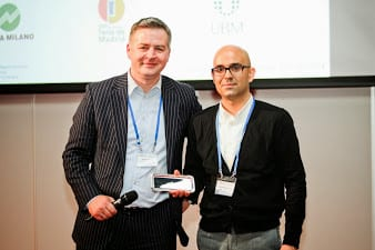 (Left to Right) Matthias Tesi Baur, Vice-Chair of the UFI ICT Committee with the 2014 UFI ICT award winner IFEMA's Rubén Rodríguez.