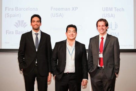 (Left to Right) 2014 UFI Operations & Services Award winner Xavier Michavila (Fira Barcelona), is joined by competition finalists Marc Pomerleau (Freeman Enterprise, USA) and Christopher Watters (UBM LLC, USA).