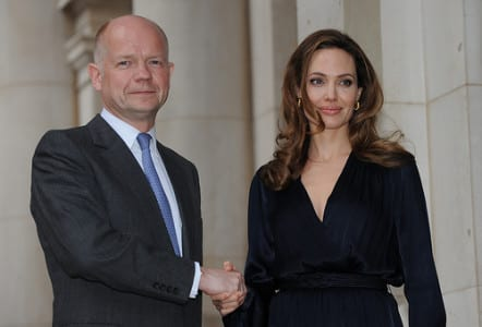 British Foreign Secretary William Hague and Angelina Jolie