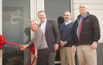 Echelon Design, Inc. cuts the ribbon its new corporate office in Gilberts, Illinois.  Left to Right: Pam Harman (Echelon), Reid Harman (Echelon President), Gilberts Village Assistant Administrator Bill Beith, Gilberts Village President Rick Zirk