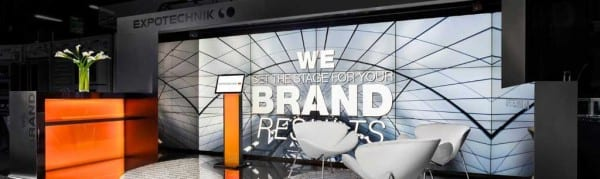 """Displayed at its 10 x 20 booth was Expotechnik's message """"We set the Stage for Your Brand."""""""