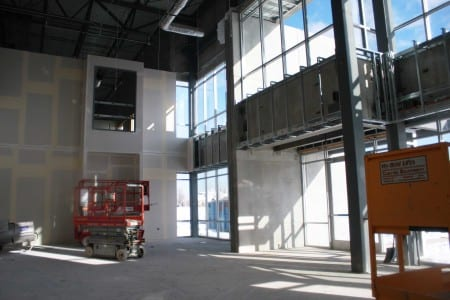 Drywall, paint and indoor accents were added to the lobby of Orbus' new facility, March 2014.