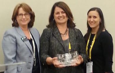 IAEE Chief Operating Officer Cathy Breden, CAE, CMP; 2014 IAEE Woman of Achievement Award Recipient Julia Smith, CEM, CTA; and Jamie Hillegas, CMP, CEM, 2014 IAEE Women's Leadership Task Force Chair.
