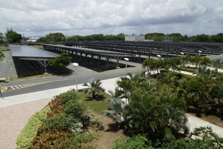 Solar panels above Puerto Rico Convention Center parking structures.