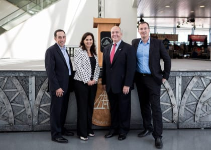 From left to right: David Gilbert, president & CEO, Positively Cleveland; Laura Rayburn, vice president of development, Great Lakes Science Center; Peter Pantuso, president & CEO, American Bus Association; Todd Mesek, vice president of marketing & communications, Rock and Roll Hall of Fame and Museum