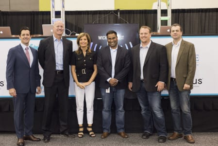 Michael Mulcahy, chairman, Team San Jose; Al Brown, CEO, SmartWave Technologies; Karolyn Kirchgesler, CEO, Team San Jose; Vijay Sammeta, CIO, City of San Jose; GT Hill, director of technical barketing, Ruckus Wireless; Victor Shtrom, co-founder; Ruckus Wireless.