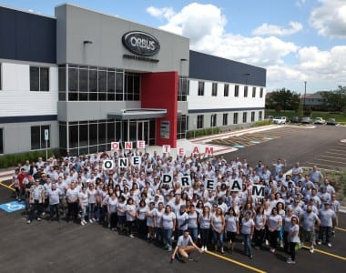 The Orbus team outside their new Illinois facility.