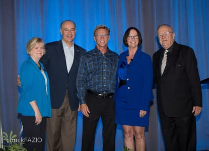 From left: Jan Addison, deputy general manager, Orange County Convention Center; George Aguel, president & CEO, Visit Orlando; Howard Britt, CEO, Premiere Show Group; Kathleen Canning, executive director, Orange County Convention Center; and Orange County Commissioner Fred Brummer; photo by Chuck Fazio