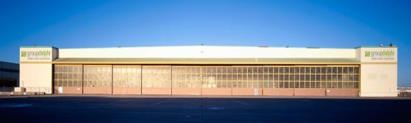 Group Delphi's corporate headquarters in Alameda, Calif.  -- a restored World War II hangar -- where it has just renewed its lease for an additional seven years.