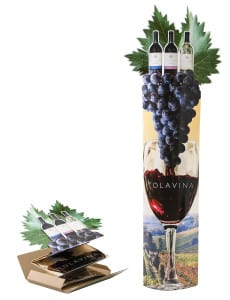 Tolavina Wine: Elliptical Column w/Side Extensions, Lug-On & Die-Cut Header **image showing display before & after deployment