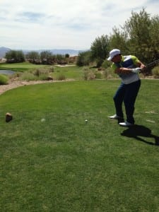 Jose Lopez, VP tradeshow division, AFR Trade Show and Event Furnishing, tees off at the Freeman Golf Outing Aug. 25.