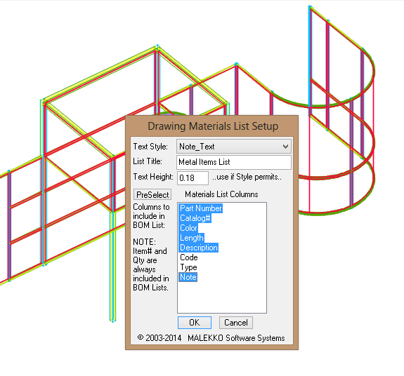 Selecting columns to include in drawing BOM List of Metal Items.
