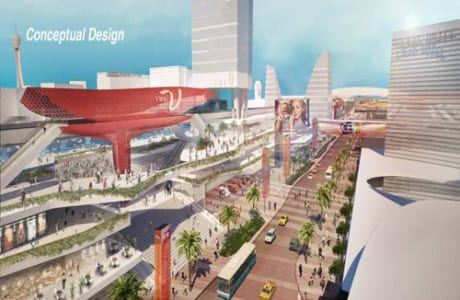 A rendering of what a proposed expansion and renovation plan of the outside facade of the Las Vegas Convention Center would look like.