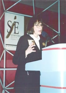 E. Jane Lorimer speaking at Cintermex in Monterrey, Mexico during her TSB days.