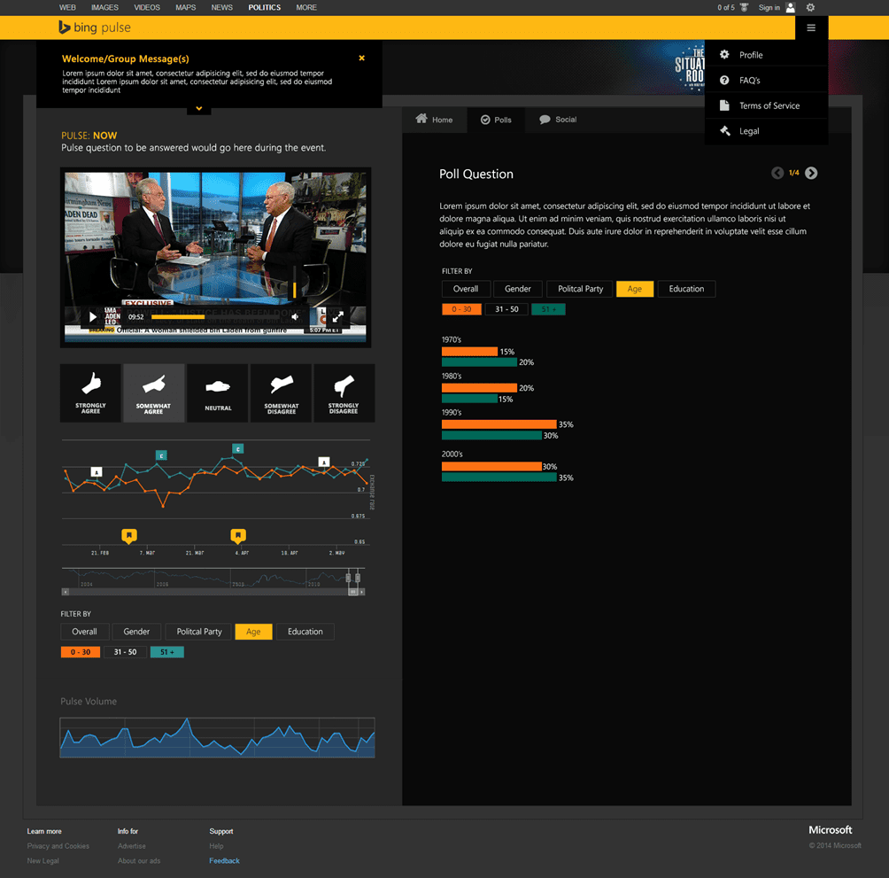 CNN used Bing Pulse for live audience engagement during the 2016 Presidential campaign.