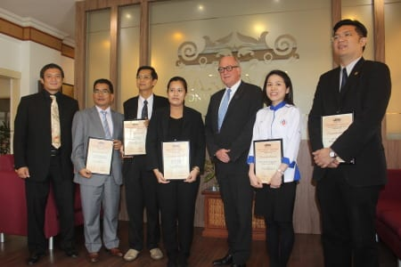 Group photo (left to right): Dylan Redas Noel, director of industry development, SCB;  Jeannoth Sinel; Peter Bong; Michelle Lee; Mike Cannon, managing director, SCB; Elena Chai; and Dennis Wong.