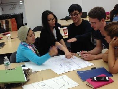 Students at work: Lojain Kamel, Saudi Arabia; Angela Hou, China; Chuan-Wei Ting, Taiwan; Sergei Vassilev, Russia; and Safek Tezer, Turkey.