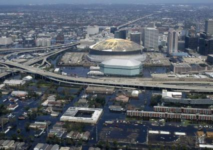 Flooding in New Orleans caused by Hurricane Katrina.
