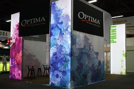The Optima Graphics booth at EXHIBITOR Show 2014