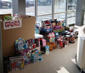 Toys purchased for Toys for Tots in the Orbus lobby before being boxed up.