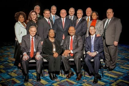 Leaders of PHLCVB, PA Convention Center, Greater Philadelphia Hotel Association, SMG, Pennsylvania Convention Center Authority and the four trade unions now working at the facility.