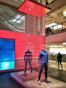 "About 170 strands of pulsating, morphing Pixel360 LED lights highlight Nike's new ""Tech"" line of sportswear."