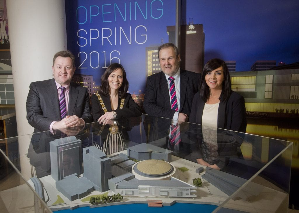 Key speakers at Visit Belfast Ambassador Evening check out the 3D model of the extended Belfast Waterfront.