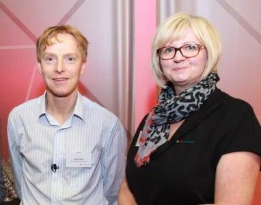 L-R John Hunt, European Society of Biomaterials; Jane Fawley, Club Liverpool