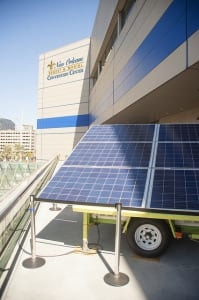 The Convention Center's skylights were utilized as the location for solar generated panels that powered an on-site microgrid, generating power to the exhibit booths.