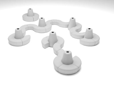 The Power Banquette system has three AC and two USB plugs built into the center cone.