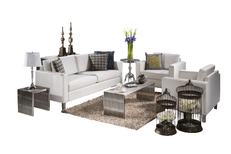 A timeless Italian styling in bright white vinyl, the Roma sofa and chair are available with standard or powered arms.