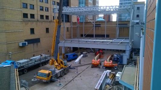 Steel works  well underway  on Belfast Waterfront's 4,000m2 extension.