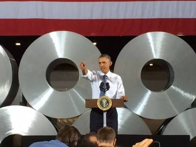 President Obama takes part in Manufacturing Day.