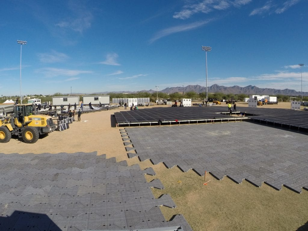 The Marvel Experience selected Brumark's quick-deploy outdoor event flooring.