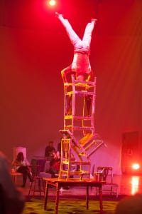 Defying gravity, a chair stacker provided heart-stopping entertainment.