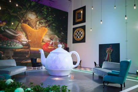 Dimension Design transformed its warehouse into a garden tea party.