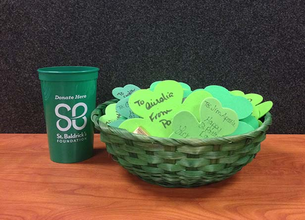 Completed Shamrock Grams, ready to be delivered.