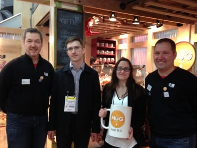 The winners at the MG Design exhibit during EXHIBITORLIVE 2015.