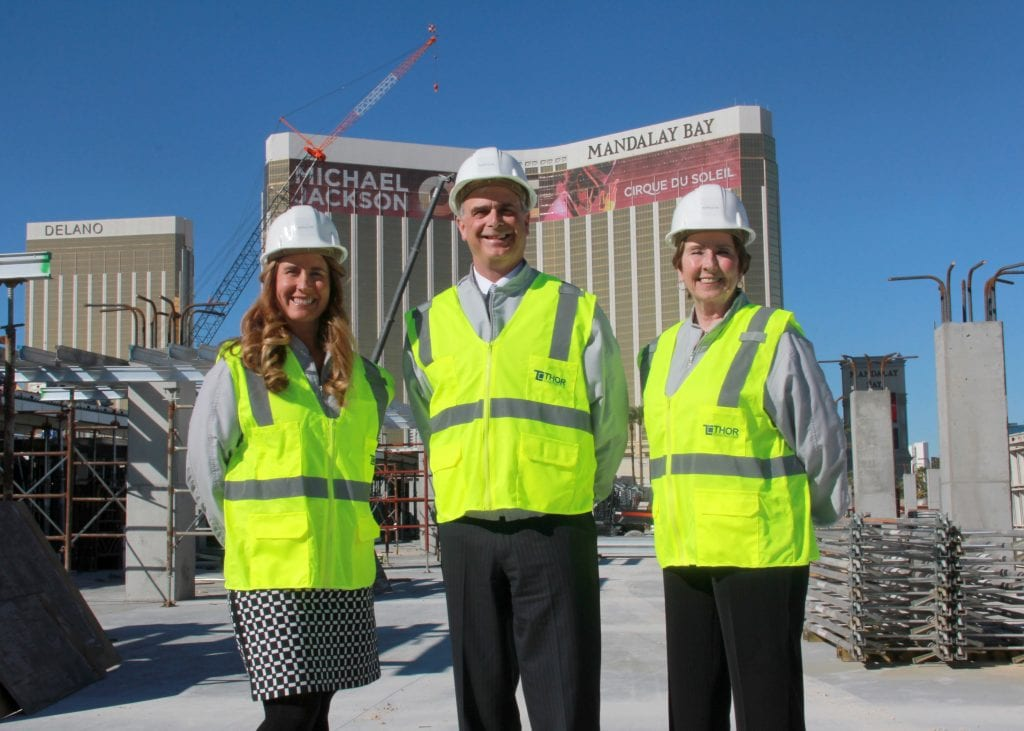Mandalay Bay's President & COO Chuck Bowling (center), Vice President of Sales Stephanie Glanzer (left) and Vice President of Catering and Convention Services Martie Sparks (right).