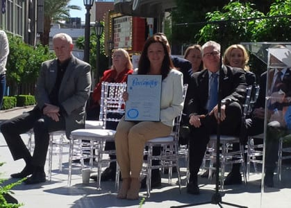 Cathy Tull, senior vice president of marketing for LVCVA, received the proclamation for North American Meetings Industry Day.