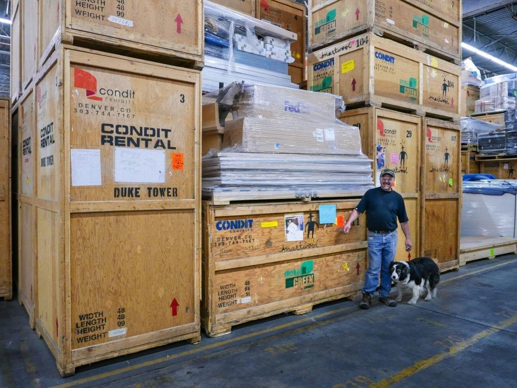 Condit crate builder Scottie Ingvalson and his Border Collie, Duke.