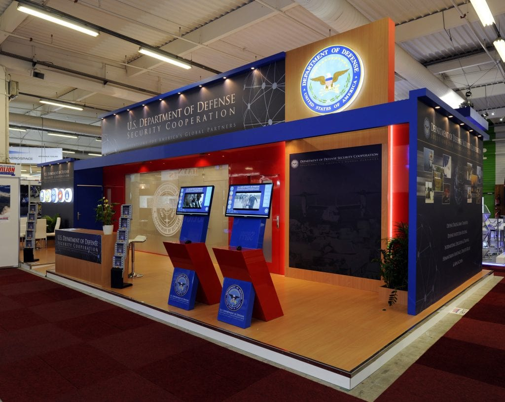 The U.S. Department of Defense Security Cooperation Agency's stage-like stand won praise for over 36 square meters