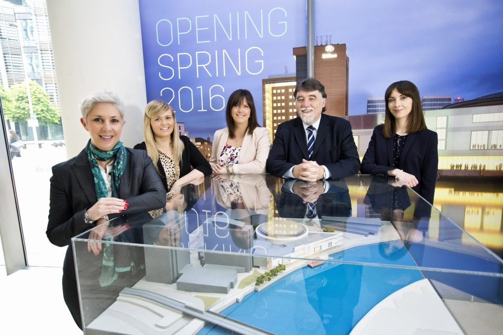 Belfast Waterfront has appointed five more staff to meet the increasing demand for its new world class conference facility opening in Spring 2016.  (From left to right): Susie McCullough (Director of Sales and Marketing), Lisa Turkington (Digital Marketing Executive), Kim Keighley (Exhibition and Business Sales Executive), Peter McCartney and Aoife Glenn (GB and International Conference Sales Executives).